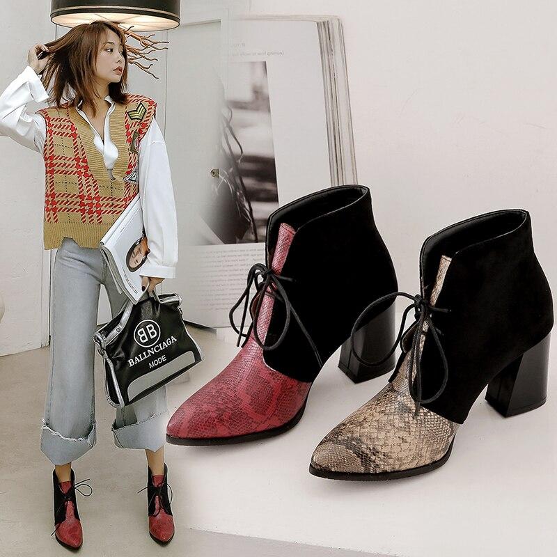 Ins/хит продаж, женские ботильоны, размер плюс 22 28 см, сапоги на высоком каблуке из флока со змеиным узором, модная женская обувь в европейском и американском стиле + обувь Зимние сапоги      АлиЭкспресс