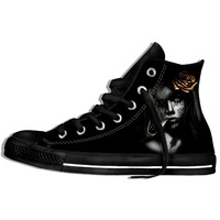 Day Of The Dead Sugar Skull Girl With Rose Tattoo Cool Fashion Lightweight Canvas Shoes For Men/Women