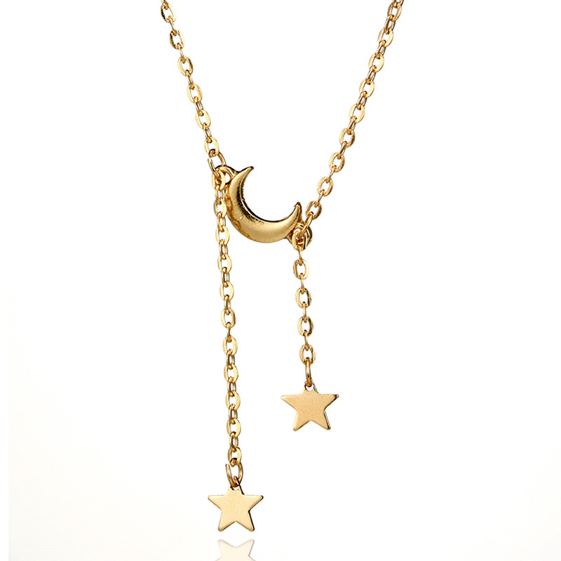TSHOU400 Woman moon fashion necklace personality simple five-pointed star pendant necklace female