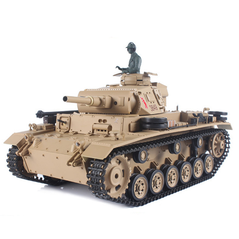 HL Germany Tiger-type 3 H Type Remote Control Tank Military Model 1/16-Emission Bullets Smoke Sound 3849