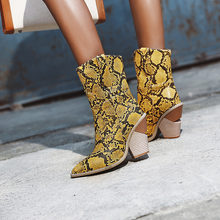 2019 Faux Leather Cowboy Ankle Boots for Women Wedge High Heel Boots Snake Print Western Cowgirl Boots Black White Yellow Beige(China)