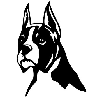Car Stickers BOXER Dog Pet Quality Stickers PVC Car Decoration Accessories Decals Creative Waterproof Black/white,17cm*12cm image