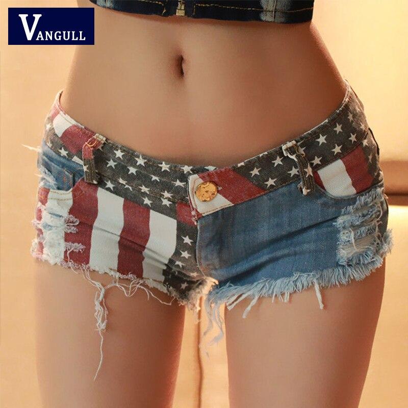 Vangull New Club Style Super Denim Shorts Sexy Punk Style European And American Flag Print Low Waist Skinny Hole Frayed Shorts