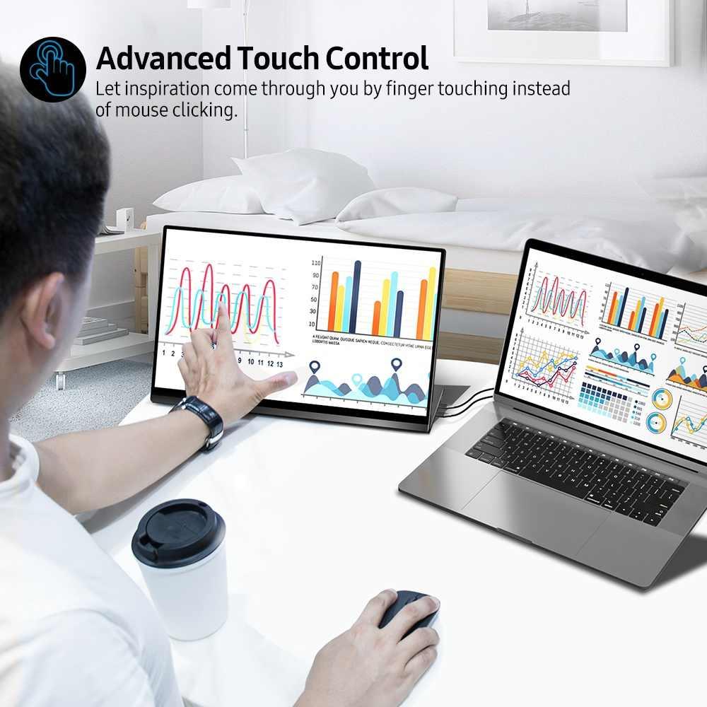 UPERFECT 4KแบบพกพาMonitorหน้าจอสัมผัสเซ็นเซอร์แรงโน้มถ่วงอัตโนมัติหมุน15.6 ''Slimmest 10-Point Touch UHD 3840X2160จอแสดงผล