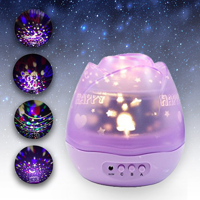 Romantic Rotation Rose Buds Starry Sky Projector Night Light USB Rechargeable Led Night Lamp Kids Baby Children Sleeping Lights