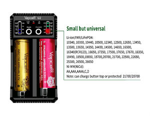 Image 5 - Original Vapcell U2 2A Smart mini charger USB for Li ion / Lifepo4 / Ni MH/Ni Cd AAA AAAA C D battery charger 2A fast charging