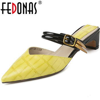 FEDONAS  Women Pointed Toe Metal Decoration Sandals Patent Leather Slippers Classic Shoes Spring Summer Brand Design Shoes Woman