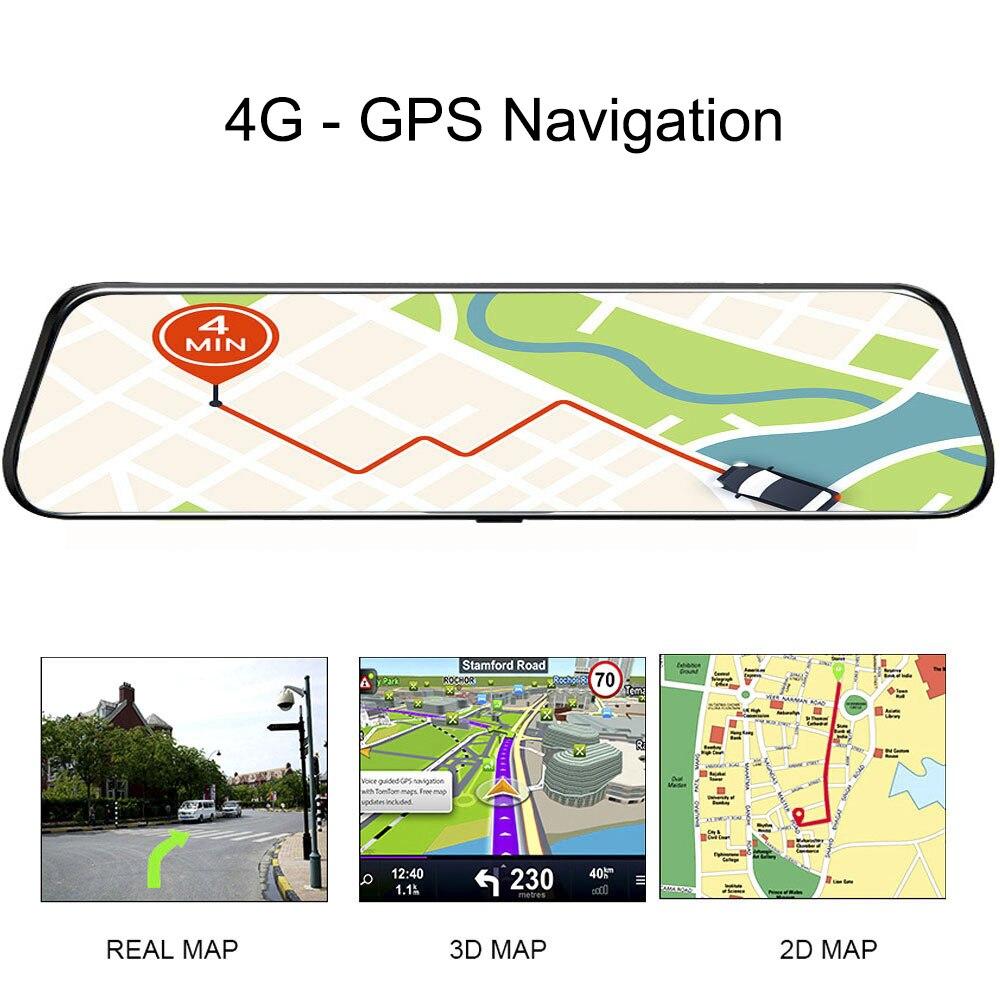 2019 12 pouces Android 8.1 voiture DVRs caméra GPS Navi Bluetooth FHD rétroviseur avec caméra DVR enregistreur 4G Wifi ADAS Dash Cam - 6