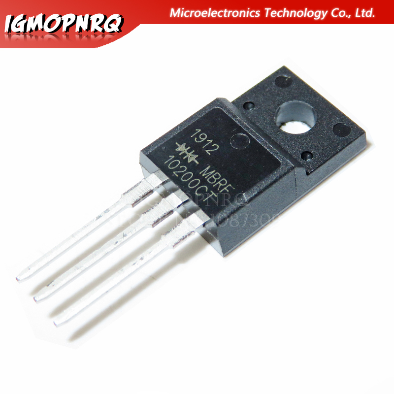 10pcs MBRF10200CT 10200CT MBRF10200 Schottky & Rectifiers 10A 200Vrrm 110A 0.91Vf TO-220F New Original