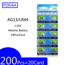 цена на 200Pcs=20Card MJKAA 2019 wholesale AG13 LR44 1.55V Alkaline Button Battery Coin Cell Batteries 357A S76E G13 For Watch, toy
