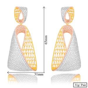 Image 5 - Женские длинные висячие серьги GODKI, роскошные серьги в форме капли воды с фианитами, свадебные серьги Дубая, 2018