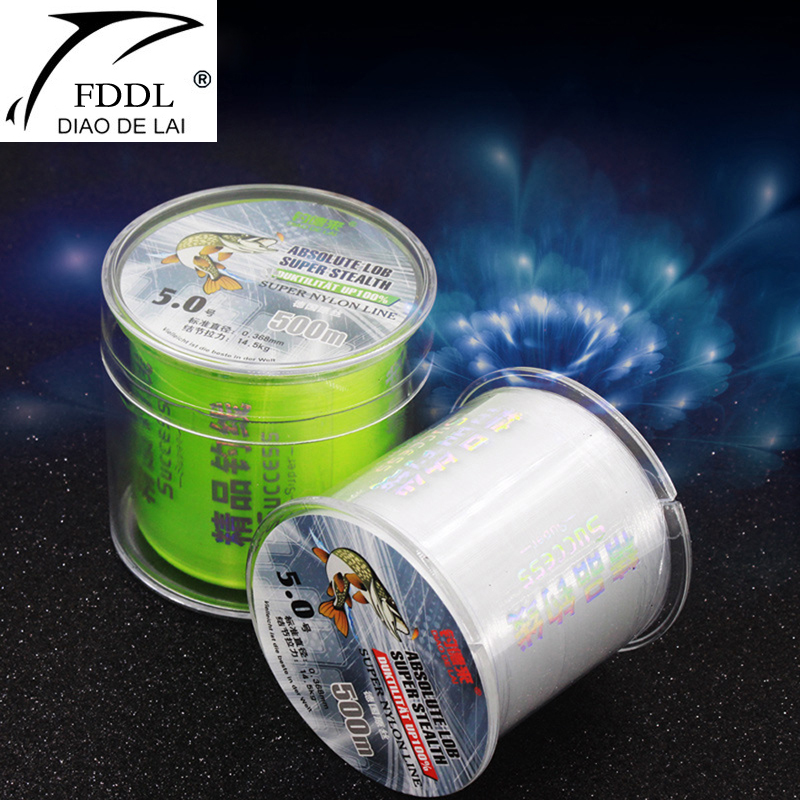 FDDL Brand 500m Fishing Reel Line Mainline / Tippet German Raw Silk Nylon Super Tension Fishing Line Transparent / Fluorescent