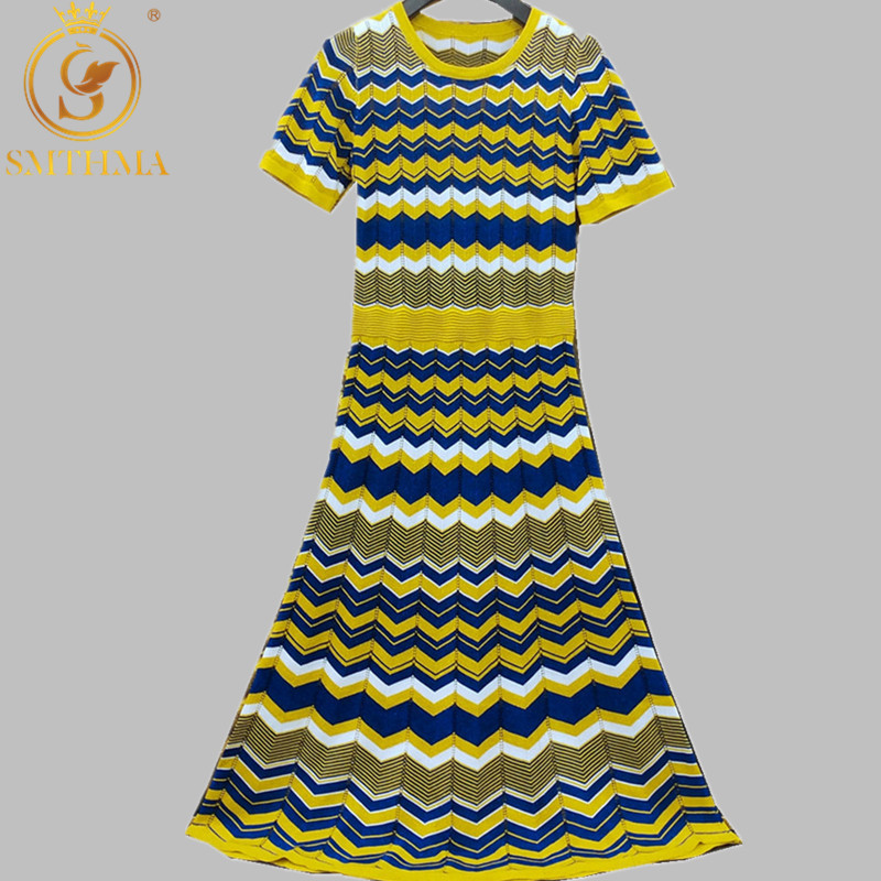 2019 Summer Fashion Designer Women Colorful Wave Stripe Sweater Dress Summer Style Slim Sexy Long Knit Short Sleeve Dress