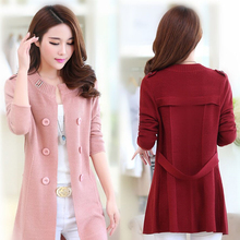 New Fashion Spring Autumn Women Sweater Cardigans Casual Long Design Female Knitted Coat Pink yellow Cardigan Sweater Top