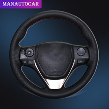 цена на Car Braid On The Steering Wheel Cover for Toyota RAV4 2013-2017 Corolla 2014-2017 Auris 2013-2016 Scion iM Auto Wheel Covers