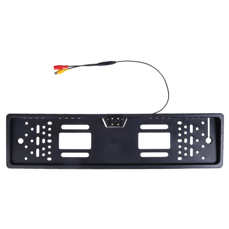 European Car Number License Plate Frame Rear View Camera 4 LEDs Night Vision 140 Degree Reverse Backup Parking Rearview Cam