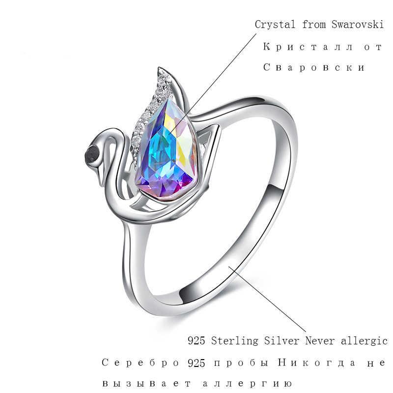 BOSCEN кольцо из стерлингового серебра 925 для женщин подарок на день рождения красочный Лебедь 2019 украшенный кристаллами от Swarovski Fine Jewelry