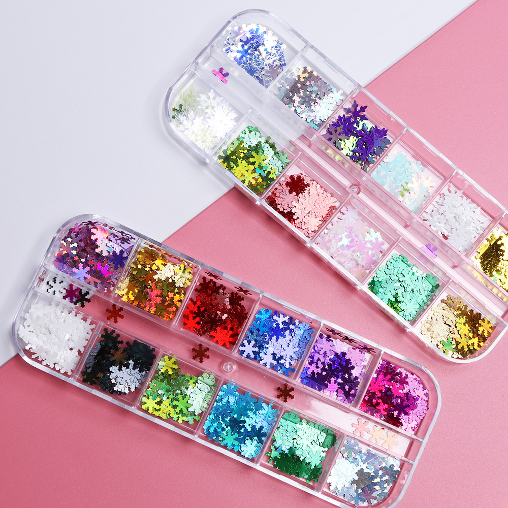 1 Box Holographic Nail Flakes Christmas Snow Flowers Sequins Snowflakes Nails Decoration Paillette Manicure Accessory LAXHH01-06