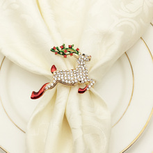 Metal napkin circle Christmas deer ring ornaments home party supplies