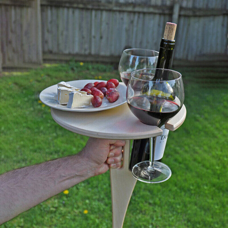 Portable Outdoor Wine Table Wooden Wine Table Red Wine Glass Wine Table Beach Portable Wine Table Natural Wood Color