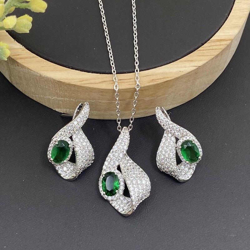 Lanyika Mode Schmuck Set Exquisite Krawatte Zirkonia Micro Pflastern Halskette mit Ohrringe für Frauen Hochzeit Jahrestag Beste Geschenke