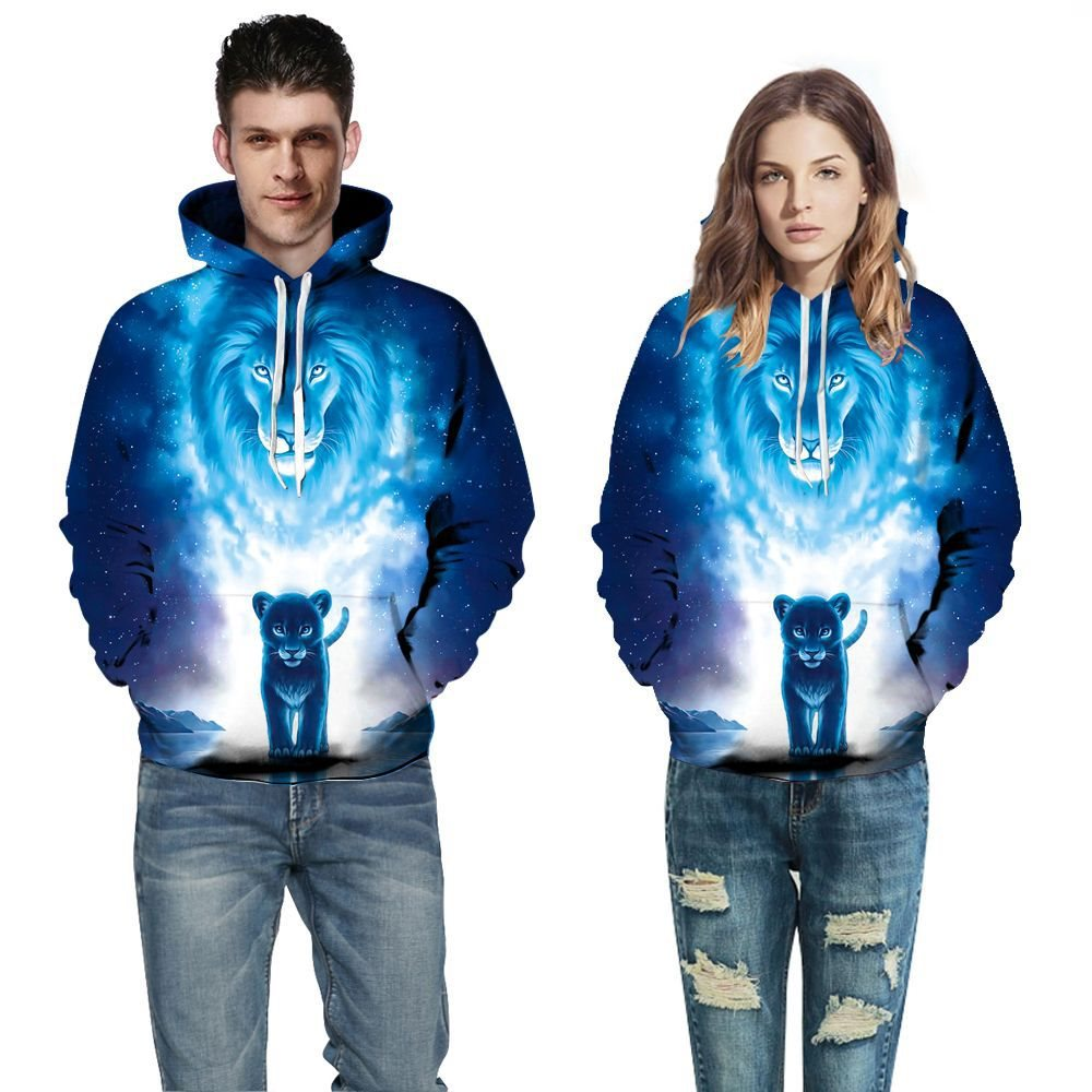 Explosion 3d digital printing casual long-sleeved pullover autumn and winter plus size couples pullovers for men and women