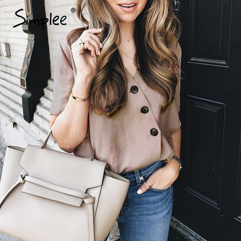 Simplee Casual Solid Color V-neck Women Blouse Shirt Spring Summer Buttons Short Blouse Ladies Street Chic Office Blouse Tops