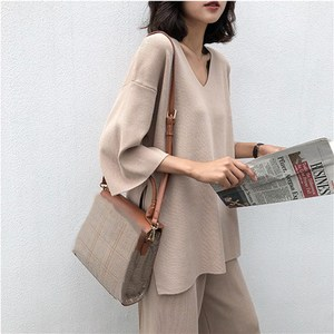 Image 2 - Women Autumn Knitted Tracksuit V neck Knitted Pullover Women Suit Clothing Loose Sweater Wide Leg Pants Suit