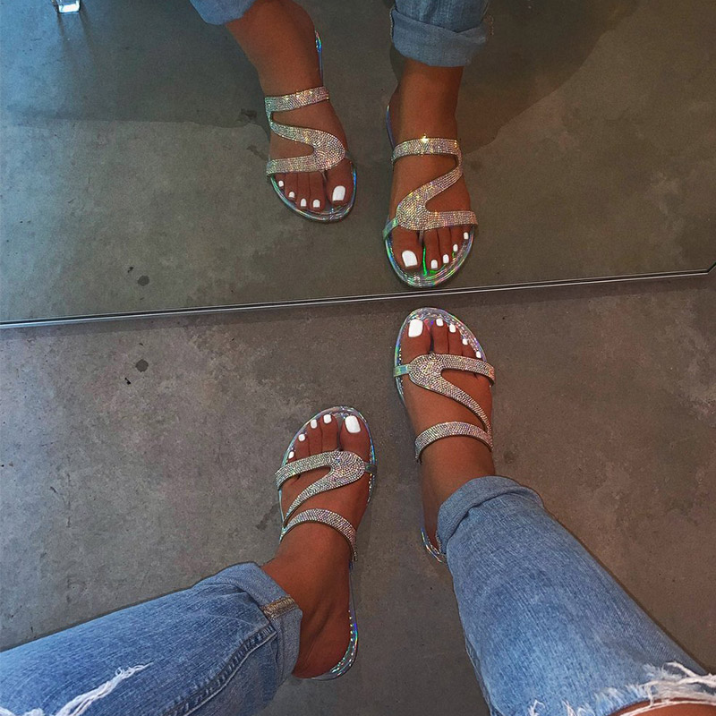 Women Summer Flat Bling Slippers Transparent Soft Jelly Shoes Female Flip Flops Sandals  Outdoor Beach Ladies Slides Plus Size 4