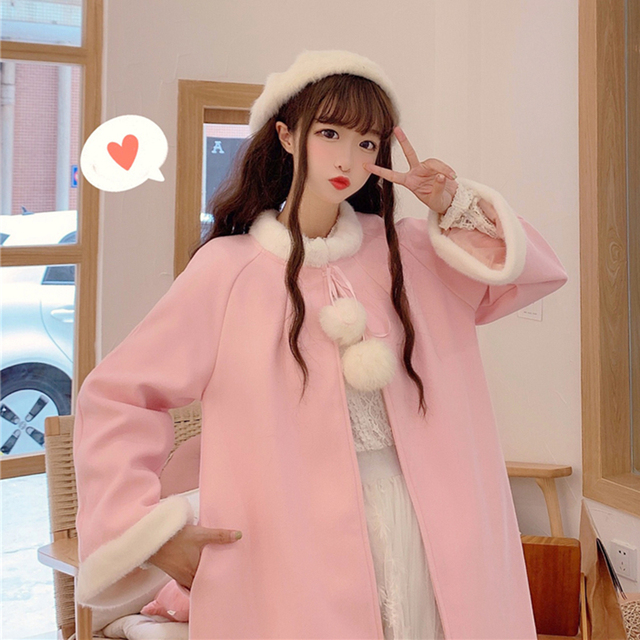 Sweat Outerwear women's autumn and winter 2020 new sweet and lovely wool collar loose tie cloth Cape long student coat