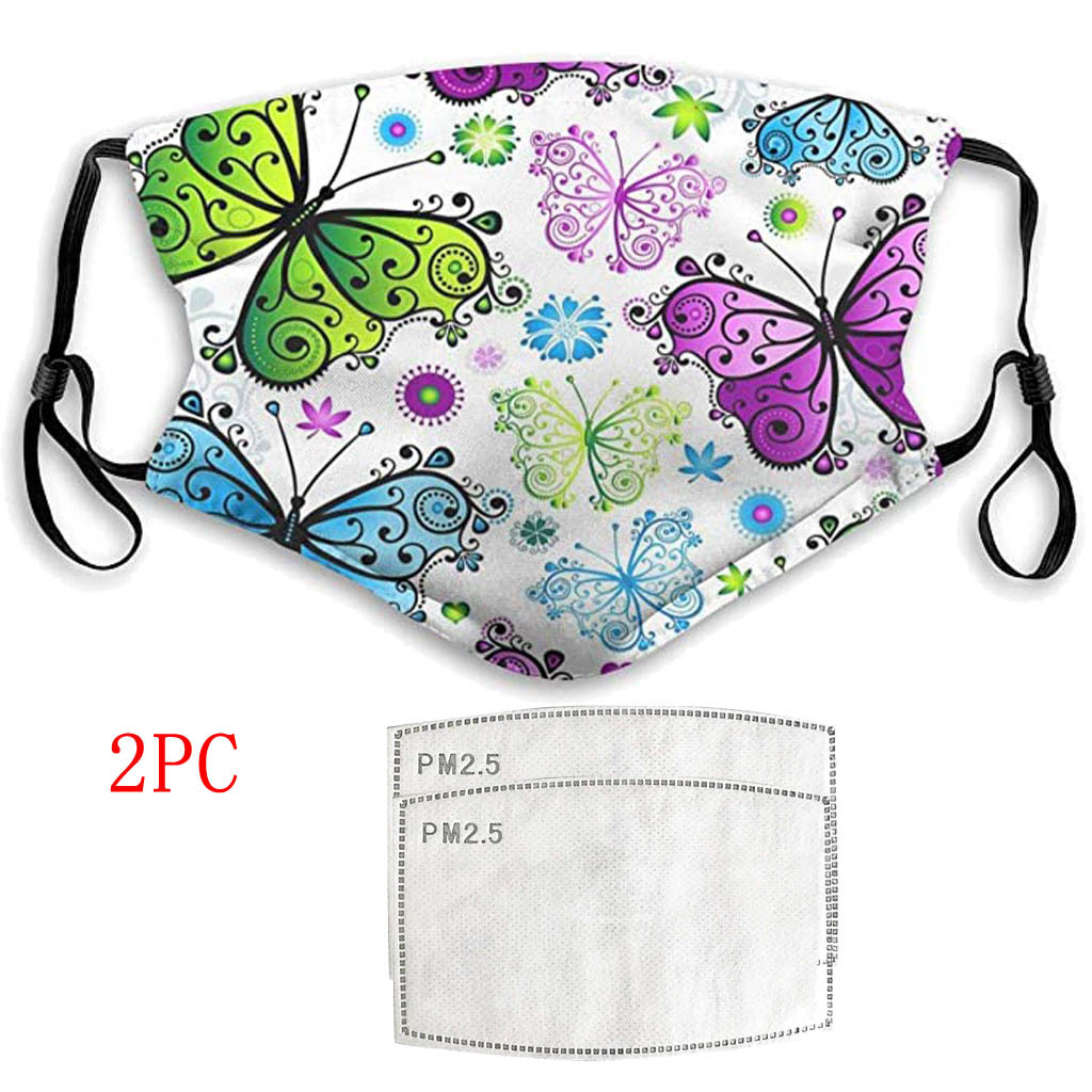 Funny Butterfly Printed Women Men Maska Cotton Breathable Face Maske Dustproof Windproof Washed Reusable Filter Mouth Mask