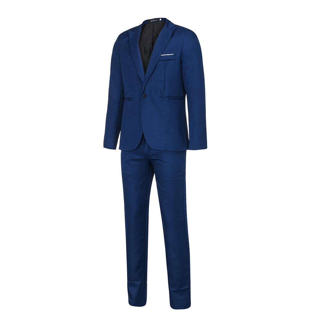 Chamsgend Mens Formal Blazer 2019 new design Men's Slim Button Suit Pure Color Dress Blazer Host Show Jacket Coat & Pant