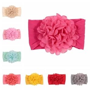 Nishine New Burning Chiffon Big Flower Nylon Headband Soft Elastic Baby Girls Headwraps Photo Shoot Hair Accessories(China)