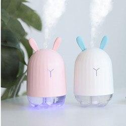 Śliczny królik nawilżacz 220ML ultradźwiękowy  aromatyczny olejek eteryczny dyfuzor do domu samochód generator pary usb Mist Maker z led lampka nocna w Nawilżacze powietrza od AGD na