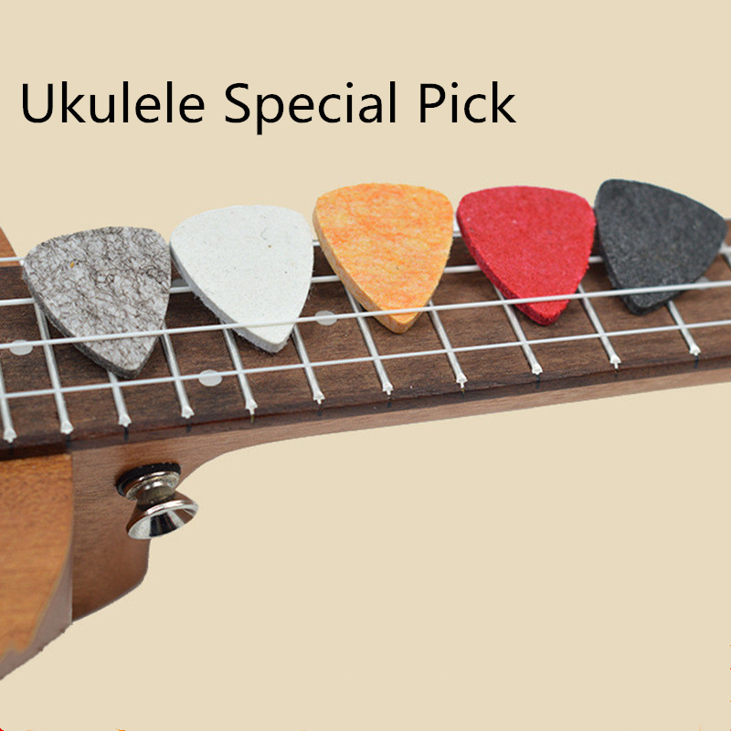 5 Pcs/Ukulele Pick Colorful Soft Felt Plectrum Mediator Ukulele Accessories For Concert Soprano Tenor