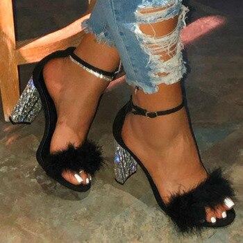 Summer Women Pumps High Heel Peep Toe Buckle Strap Platform Rhinestone Sandals 2020 Wedding Party Ladies Shoes Zapatos De Mujer