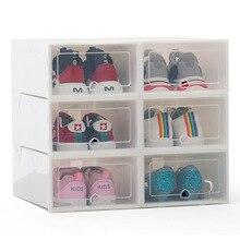 Caja de plastico para zapatos plegable, organizador Universal para el hogar, cajón de almacenamiento apilable, transparente, 6 uds.