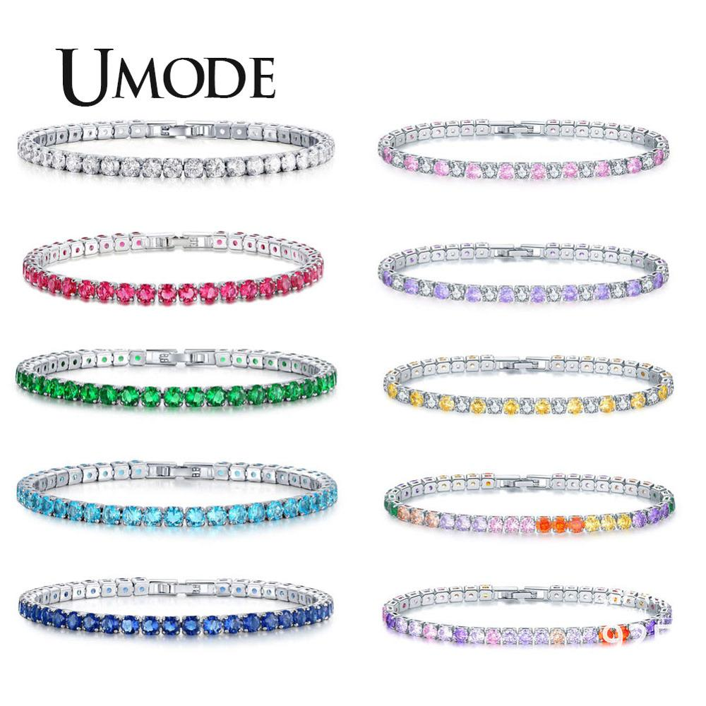 UMODE Round Cut Simulated Diamond Five Colors Tennis Bracelet For Women Christmas Gifts Fashion Jewelry Pulseras Mujer UB0097