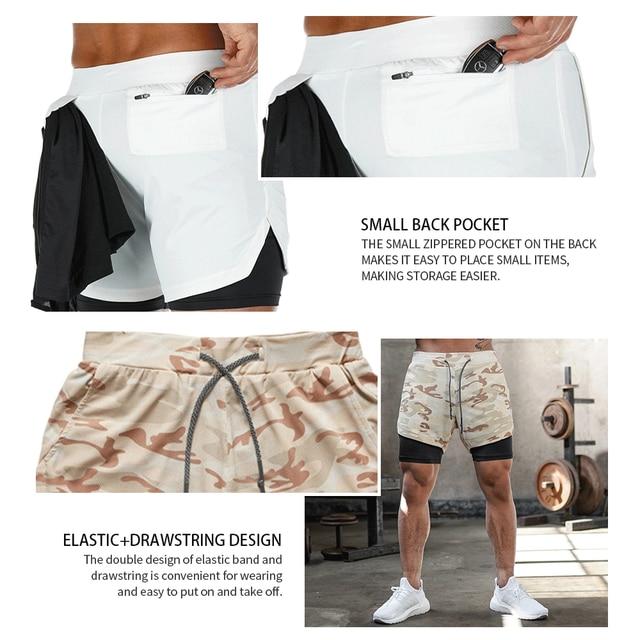 2020 Summer Running Shorts Men 2 in 1 Sports Jogging Fitness Shorts Training Quick Dry Mens Gym Men Shorts Sport gym Short Pants 2
