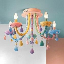Потолочные светильники, хрустальные, 5 головок/6 головок, яркого цвета, макарон, для спальни, детской комнаты, для принцессы