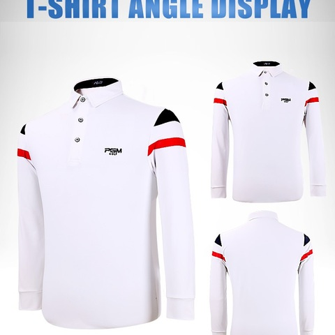 PGM 2019 Autumn Dry Fit Men Golf Shirts Long Sleeve Breathable Tshirts Turn Down Collar Golf Clothing Men Table Tennis Shirt Multan
