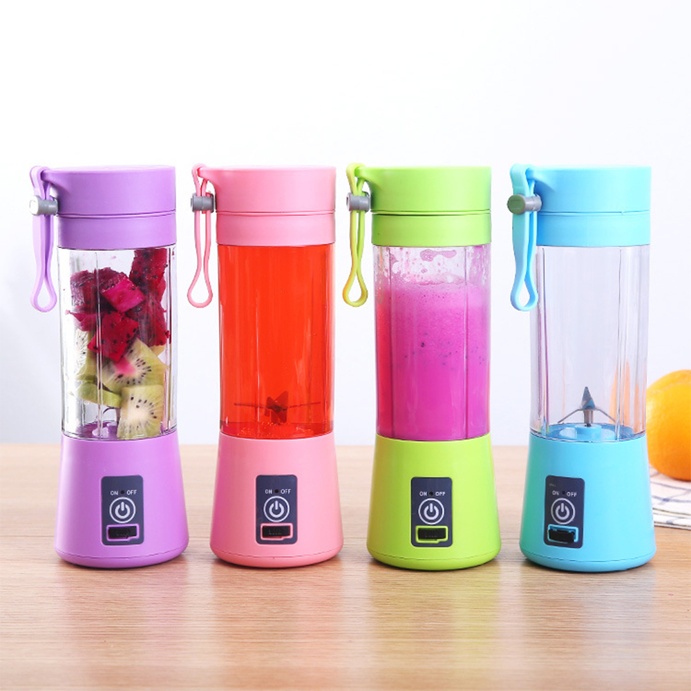 380ml 4/6 Blades Mini Portable Electric Fruit Juicer USB Rechargeable Smoothie Maker Blender Machine Sports Bottle Juicing Cup