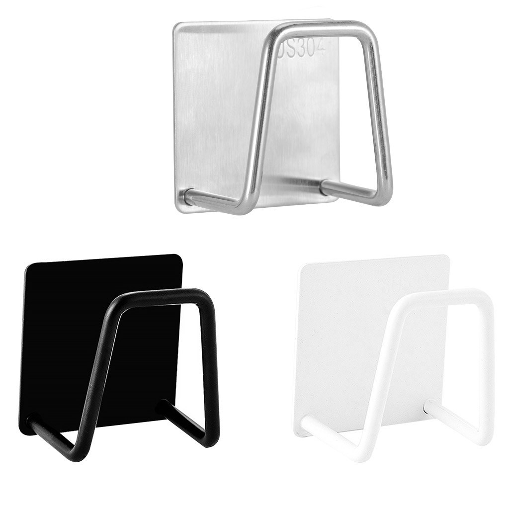 1PC Kitchen Stainless Steel Sponges Holder Drain Drying Rack Self Adhesive Sink Shelf Kitchen Accessories Storage Gadgets