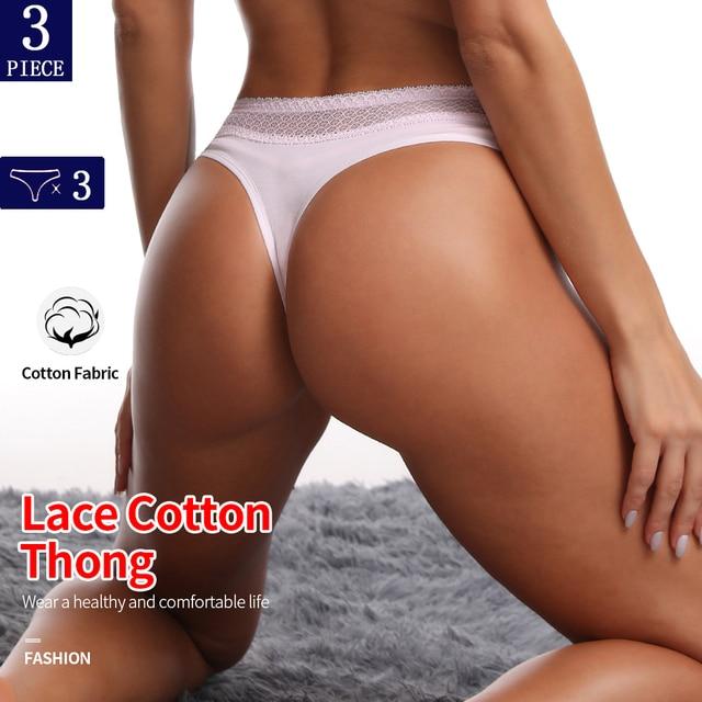 3Pcs Cotton Crotch Thong With Lace Waist 4