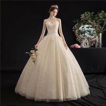 Señora Win Strapless vestido de novia 2020 nuevo champán encaje hasta vestido de baile princesa Vintage encaje vestidos de boda bordados H103
