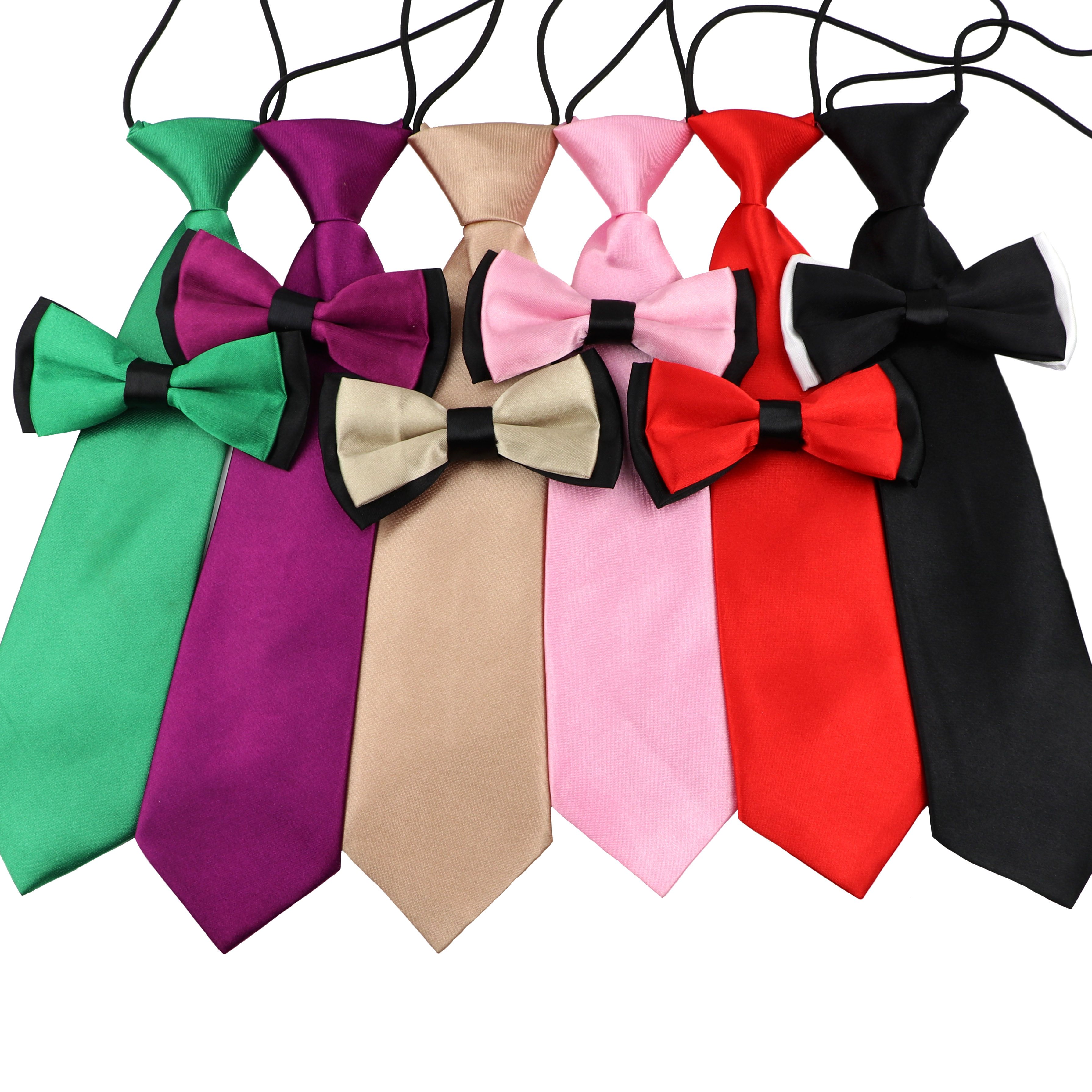 Colorful School Boys Bow Tie Set Children Kids Baby Solid Color Elastic Lazy Necktie Butterfly Design Cute Bowtie Accessory