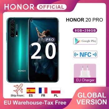 Перейти на Алиэкспресс и купить В наличии глобальная версия Honor 20 Pro смартфон Kirin 980 Octa Core 7nm 6,26 ''8G 256G 48MP четыре камеры сотовый телефон Google Play NFC