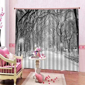 white curtains Customized size Luxury Blackout 3D Window Curtains For Living Room white snow curtains