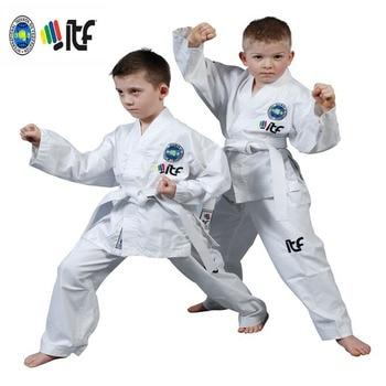 Uniforme de algodón blanco para adultos y niños uniforme de estudiante de Taekwondo aprobado por ITF, equipo de Taekwondo, dobok, novedad de 2020