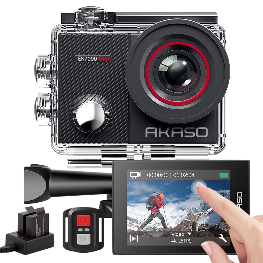 AKASO действие Камера EK7000 Pro 4K Камера сенсорный Экран 40 м Водонепроницаемый экшн-камера Sports Камера дистанционного Управление